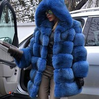 Faux Fur Hooded Chinchilla Coat