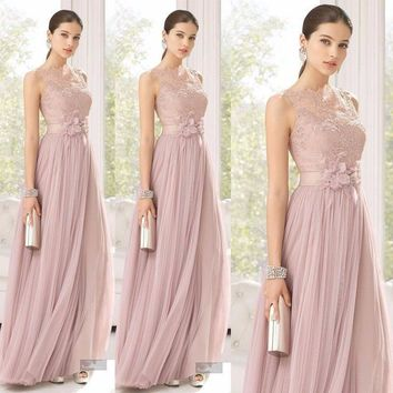 Bridesmaid Dress Bridesmaids Blush Color Tulle Lace Hand Made Long Maid Of Honor Floor Length Sheer For Girls  Party Dresses