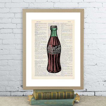 Vintage Coke Bottle. Coca-Cola soda. Vintage dictionary paper illustration art print. Wall hanging 8X10.5 in. Glass Coke Bottle.Upcycled.