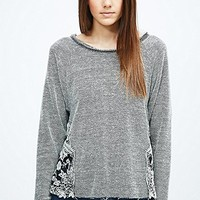 Pins & Needles Floral Mesh Insert Sweatshirt - Urban Outfitters