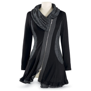 Black Shawl Cowl Tunic