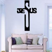 Wall Stickers Vinyl Decal Jesus Holy Cross Religion Religious Symbol (z2042)
