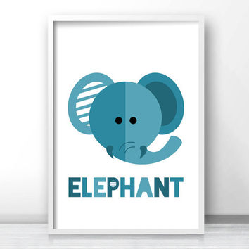 Elephant Nursery Print, Animal Nursery Print, Kids Wall Art Print, Safari Nursery Wall Art, Printable Kids Art, Blue Elephant, Kids Print