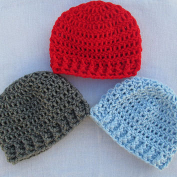 Crochet Newborn Ribbed Beanie, Baby Boy Hat, Infant Hat, FREE SHIPPING