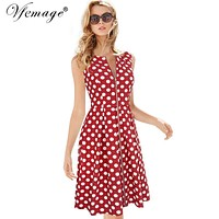 Vfemage Womens Elegant Vintage Summer Polka Dot Zip Up Wear to Work Business Casual Party Fit and Flare Skater A-line Dress 7982