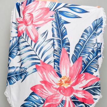 Hawaiian Floral Round Beach Towel