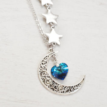 Silver crescent moon and star necklace,moon necklace,astrology sign,rustic crescent moon,swarovski bermuda blue heart,love you to the moon