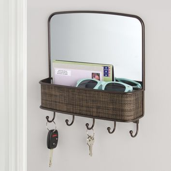 InterDesign Twillo Mirror with Mail & Key Organizer for Kitchen, Hallway, Entryway - Wall Mount, Bronze