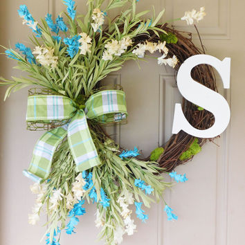 Wild Field Flower Grapevine Wreath. Year Round Wreath. Spring Wreath. Summer Wreath. Monogram Wreath. Door Wreath.