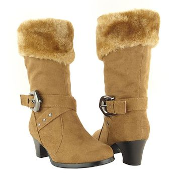Kids Mid Calf Boots Suede Fur Cuff Ankle Wrap Buckle Tan