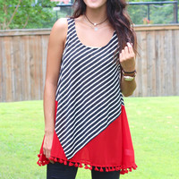 Tasseling Around Striped Tank {Red+Black}