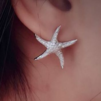 Full Glamor Curved Starfish Silver Earrings - LilyFair Jewelry