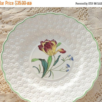 On Sale Vintage Spode Botanical  Plate, Flowers of the Month #5, Tulip Collectible Plate, Signed Numbered 9366, Cabinet Plate Ca. 1932