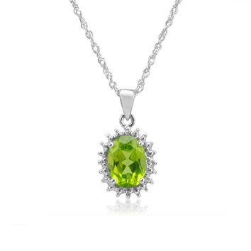 Sterling Silver Peridot and Diamond Pendant-Necklace ( 1.25cttgw)