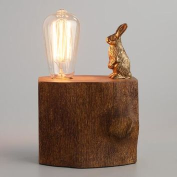 Brass Rabbit on Tree Block Table Lamp