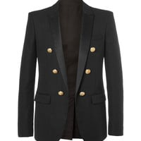Balmain - Black Slim-Fit Double-Breasted Cotton Blazer
