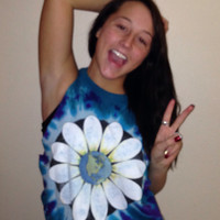 Tie Dye Daisy Flower Child Earth Hippie Crop Top women's size Medium