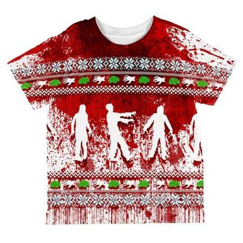 ONETOW Ugly Christmas Sweater Bloody Zombie Attack Survivor All Over Toddler T Shirt