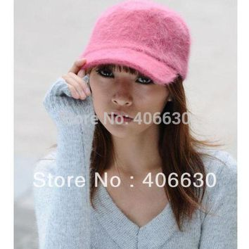 Winter Solid Color Rabbit Fur Berets Hats For Women Gatsby Baseball Caps Sun Visor Caps Free Shipping