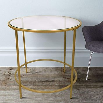 Contemporary Style Round Metal Framed End Table with Glass Top, Gold and Clear