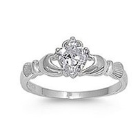 .925 Sterling Silver Claddagh Ring with Clear Color Cz Heart Stone Size 4,5,6,7,8,9,10; Comes with Free Gift Box(4)