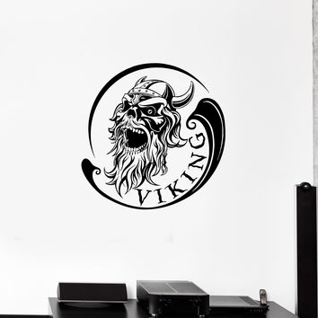 Wall Decal Viking Skull Warrior Skeleton Head Inscription Vinyl Sticker (ed1137)