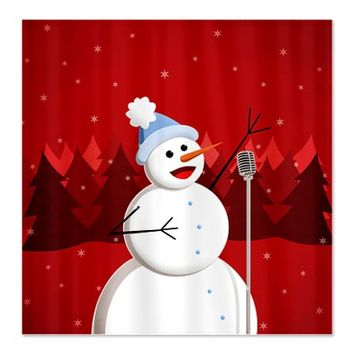 Happy Singing Snowman Christmas Shower Curtain