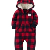 Buffalo Check Fleece Jumpsuit