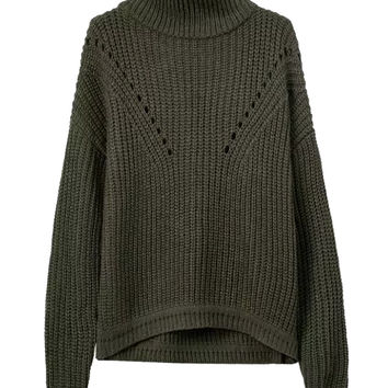 Deep Green High Neck Long Sleeve Knit Jumper