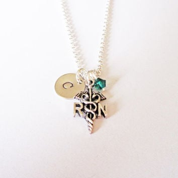 Personalized Nurse Necklace, RN Caduceus Charm Necklace, Registered Nurse Gift, custom initial, birthstone jewelry, silver necklace