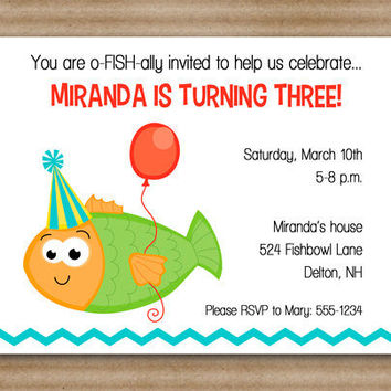 Fish Invitation / Fish Birthday / Pool Party / Beach / Water - PRINTED (set of 12) / Printable PDF File Also Available