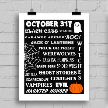 Happy Halloween Art Print - Halloween Themes Printable Holiday Home Decor Wall Art (JPG/PDF) 8x10
