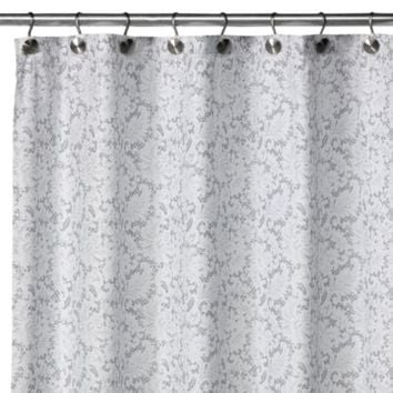 watershed single solution 2in1 victorian fabric shower curtain in white