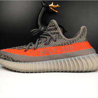 """Adidas"" Women Yeezy Boost Sneakers Running Sports Shoes SPYL-350 Grey orange"