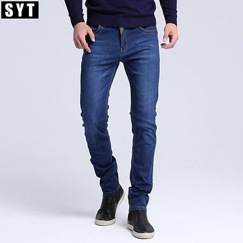 SYT New Fashion Men Casual Jeans Slim Straight High Elasticity Feet Jeans Loose Waist Long Trousers S6CJ064