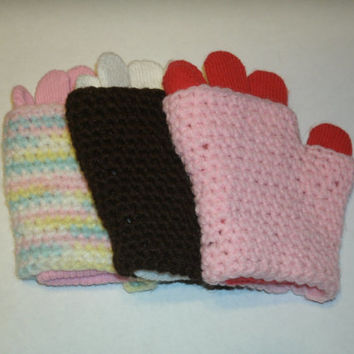 Toddler Two-Layer Gloves, wear them fingerless or double layer, fits ages 2-5