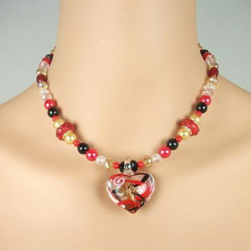 Glass Murano Red Gold Heart Pendant Necklace
