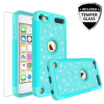 Apple iPod Touch 5 Case, Touch 6 Case,Glitter Bling Heavy Duty Hybrid Case with [HD Screen Protector] Dual Layer Protective Phone Case Cover W/Temper Glass - Teal