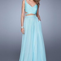 La Femme 21152 Flowy Two Piecev Beaded Light Mint Prom Dress