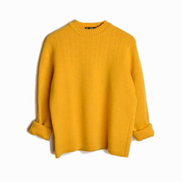 Vintage 60s Austrian Wool Ski Sweater in Mustard Yellow - women's medium