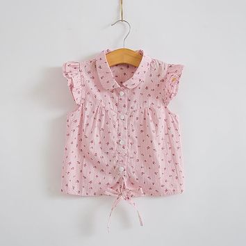 Little Girl Floral Striped Shirt Blouse