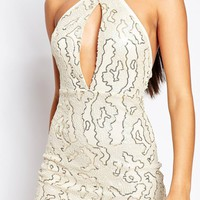 Club L High Neck Midi Dress in Allover Sequin