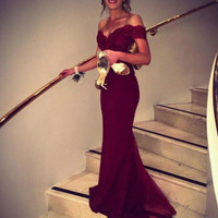 Mermaid Burgundy Off Shoulder Prom Dresses Evening Dresses