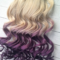 "Blonde Violet Hair Extensions/Violet Purple Ombre/Purple DipDye/BurningMan/Blonde Hair /18""/Custom Your Own Hair"