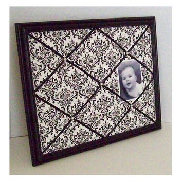 Black & White Damask Print fabric ~ Black Wood Frame Memo Board by ToileChicBoutique