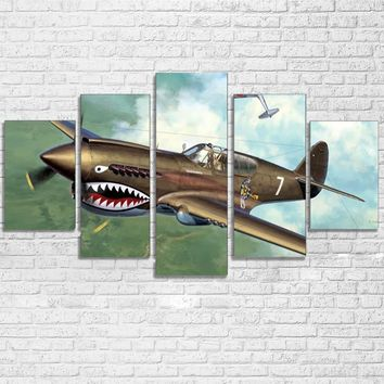 P40 Warhawk Military Plane Nose Art Canvas Wall Art Poster Living Room Aircraft
