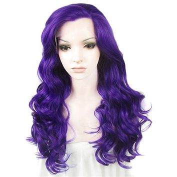 Long Dark Lavender Purple Wave Synthetice Lace front Wig