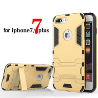Silicone Iron Man Anti Shock Proof 3D Shield Case For iPhone 6 6s 7 5S SE Plus Kickstand Cover Shell