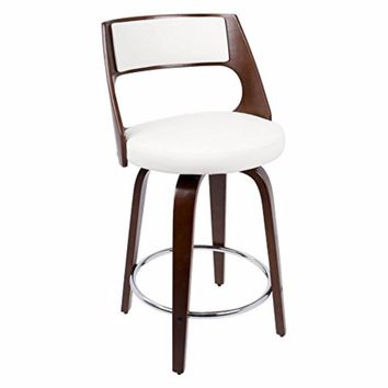 Cecina Fixed Height Mid-Century Modern Counter Stool