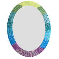 Colorful Ombre Oval Mosaic Wall Mirror